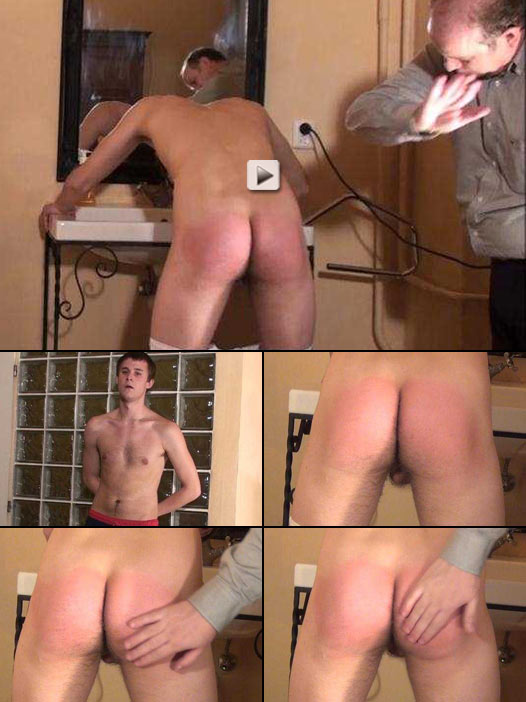 College jock gets a humiliating bare bum spanking